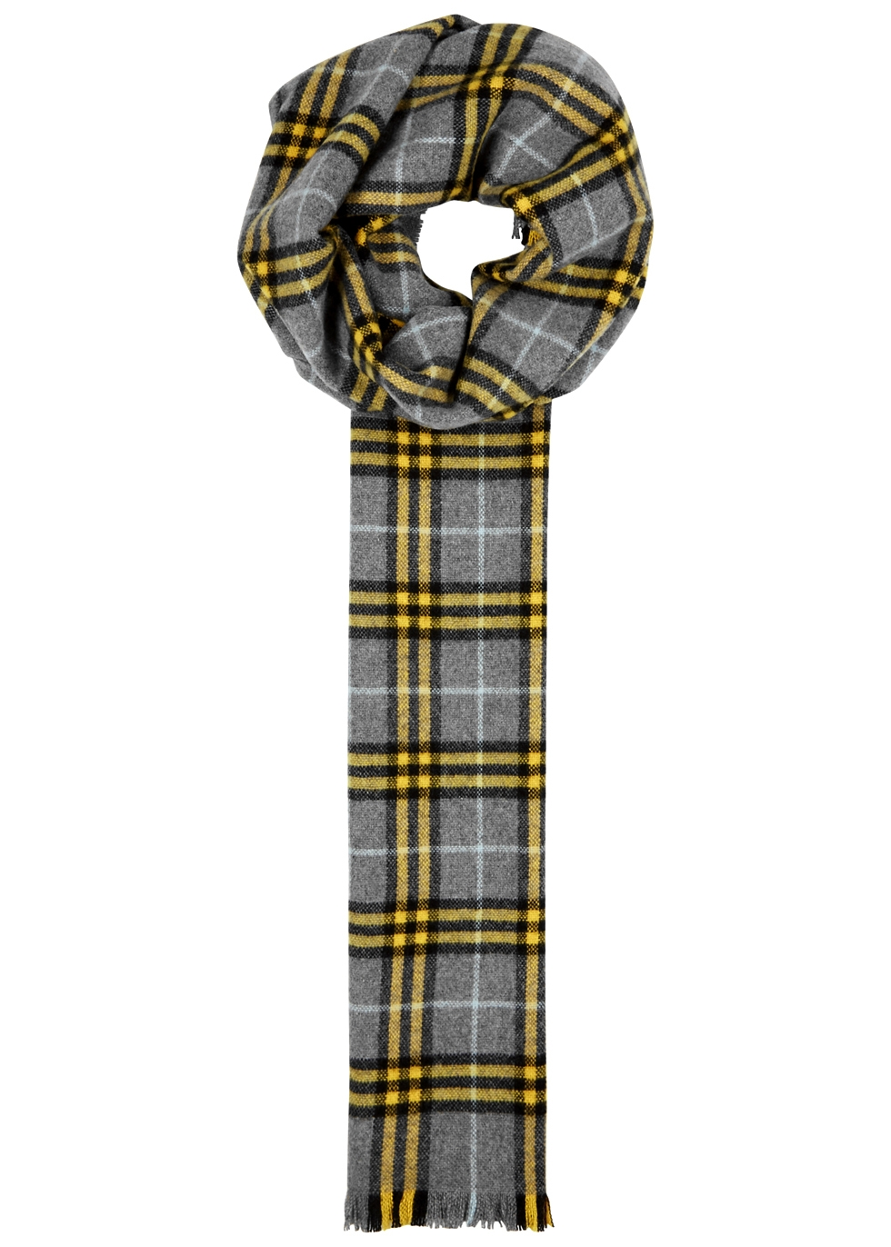 BURBERRY GREY CHECKED CASHMERE SCARF