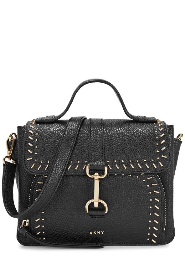 Paris Black Studded Leather Shoulder Bag