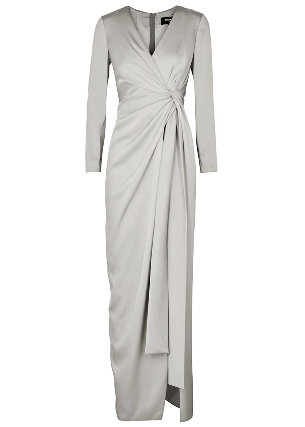 PAULE KA Twist-Detail Satin Gown in Grey