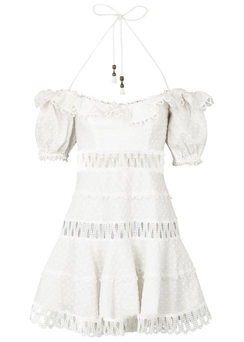 ZIMMERMANN Melody linen and cotton plumetis blend dress - Harvey Nichols 953884965