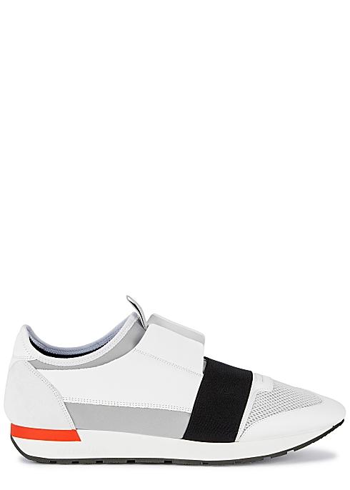 7599dd53948348 Balenciaga Race Runner white panelled trainers - Harvey Nichols