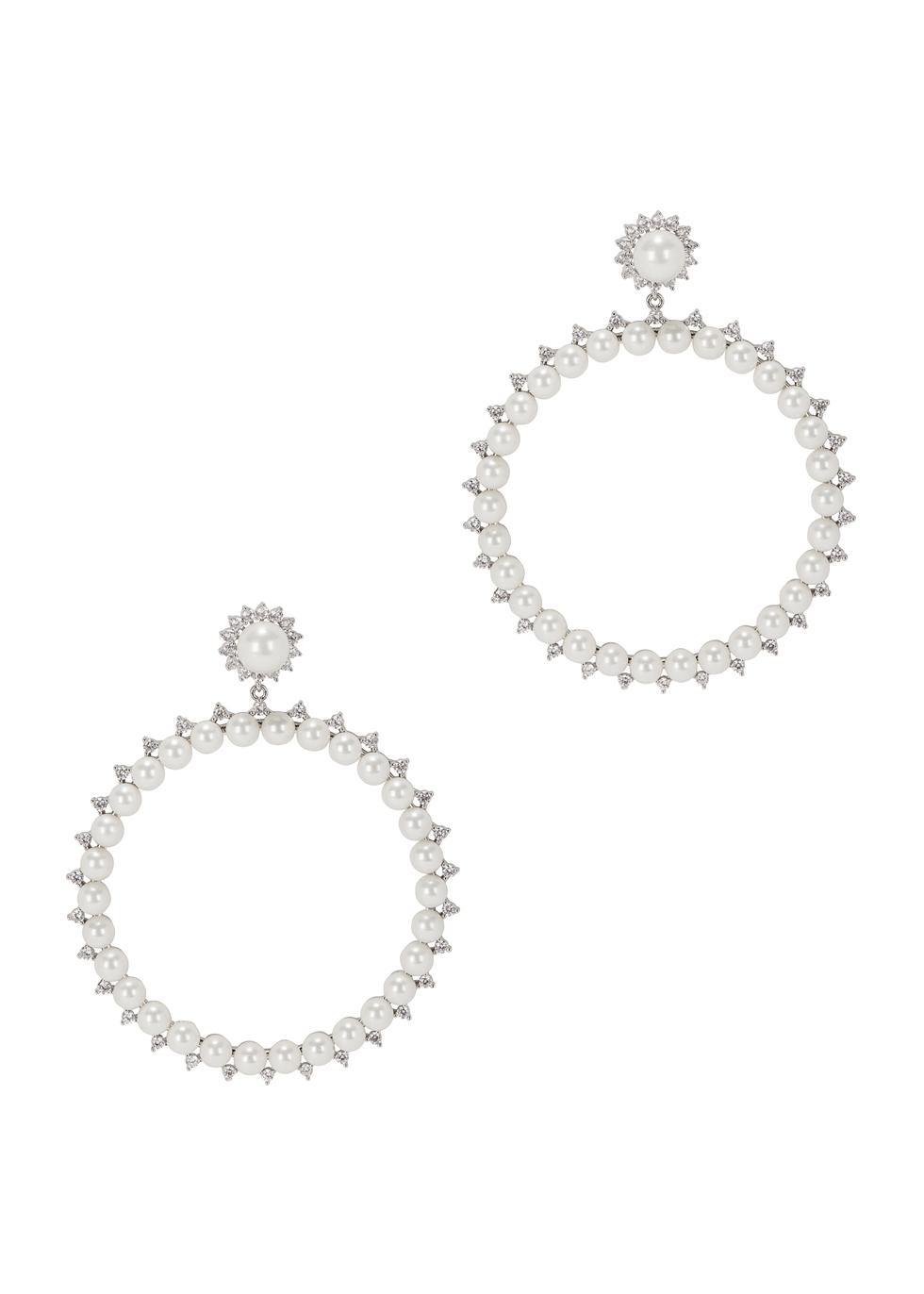 FALLON Faux-Pearl Drama Hoop Earrings in Silver