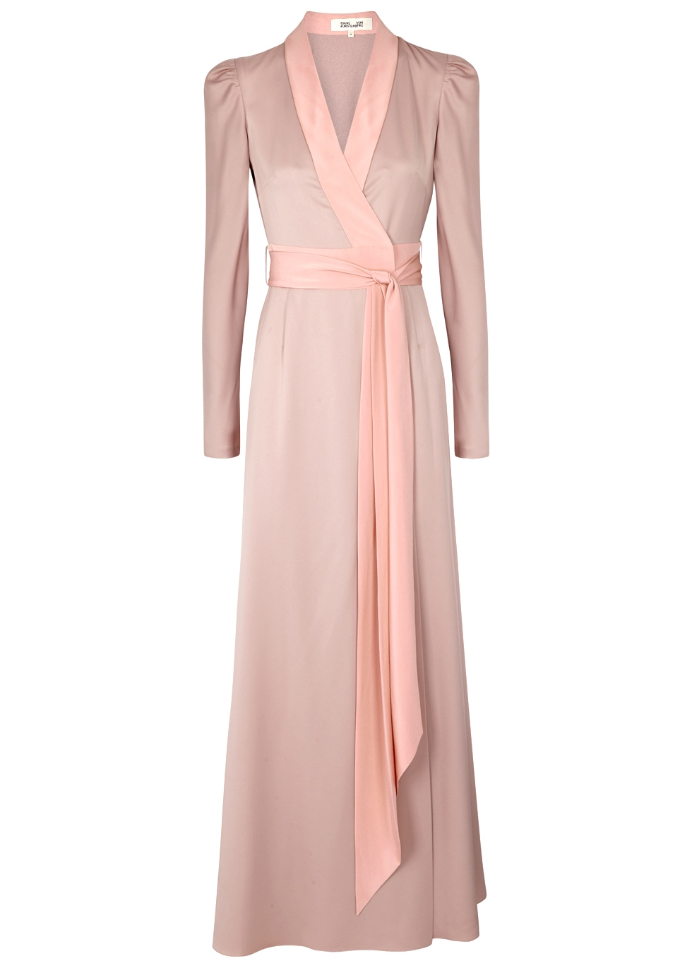Tonal Trim Silk Wrap Dress, Pink