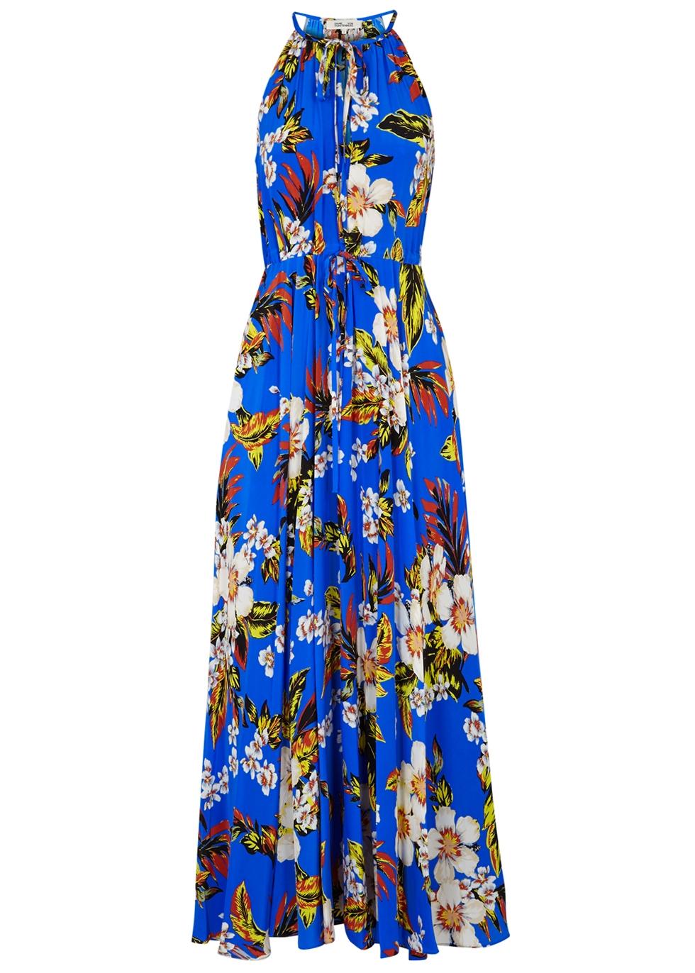 Floral-Print Silk-Jersey Maxi Dress, Blue