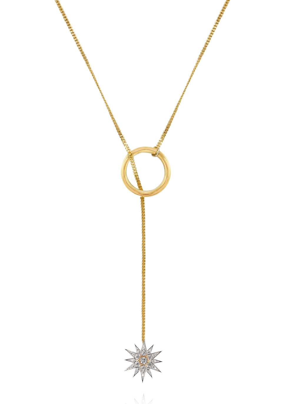 APPLES & FIGS CELESTIAL STAR HOOP LONG NECKLACE