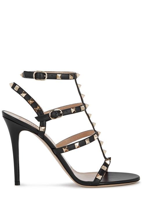 6055d39e7c7 Valentino Garavani Rockstud 100 black leather sandals - Harvey Nichols