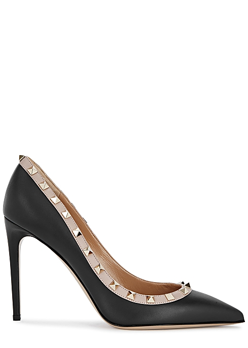 4120d9bc20c0a Valentino Garavani Rockstud 100 black leather pumps - Harvey Nichols