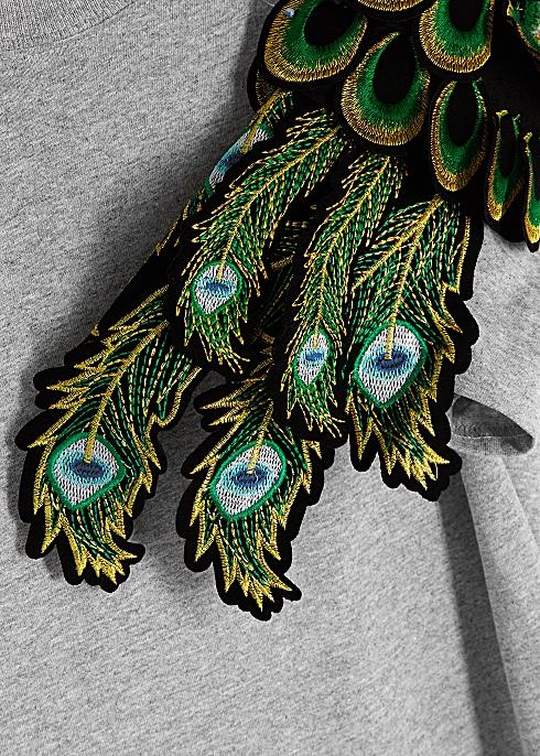 7ef0c4838174 RAGYARD Peacock feather-appliquéd cotton T-shirt - Harvey Nichols