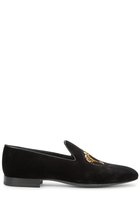 57fa7ca2becd9 Versace Black Medusa-embroidered velvet loafers - Harvey Nichols