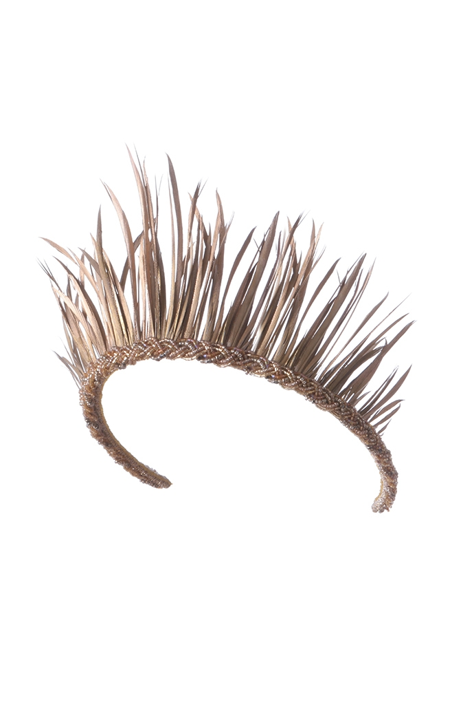 EMILY - LONDON MUSTIQUE GOLD FEATHER CROWN