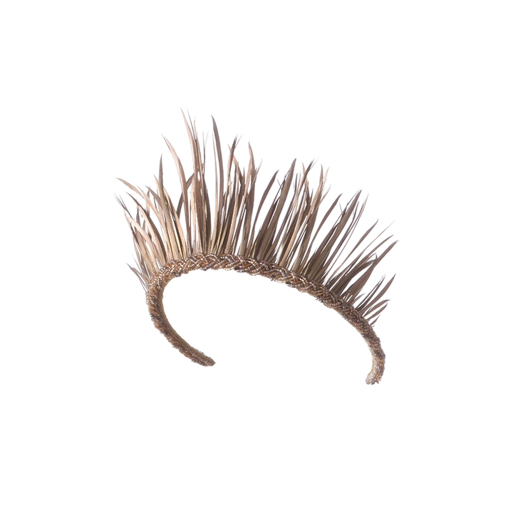 EMILY - LONDON | EMILY - LONDON Mustique Gold Feather Crown | Goxip