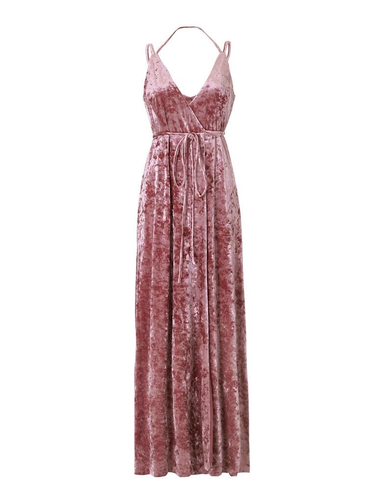 AIDAN Velvet Wrap Dress in Purple