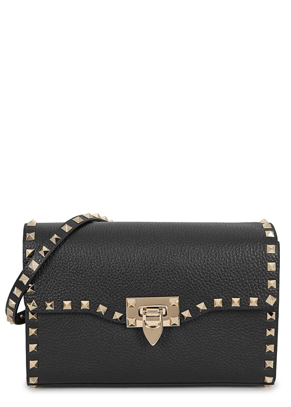 VALENTINO | Valentino Rockstud Small Black Leather Shoulder Bag | Goxip