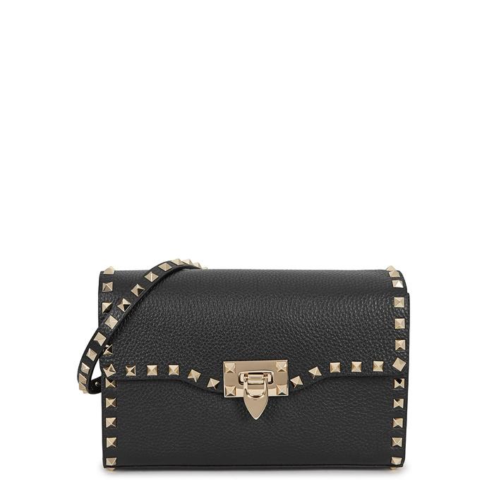 VALENTINO   Valentino Rockstud Small Black Leather Shoulder Bag   Goxip