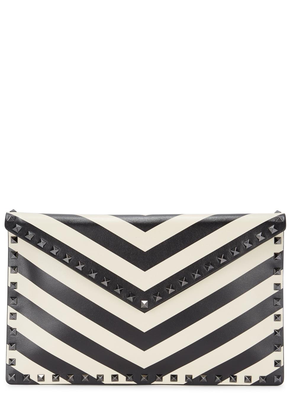 Black And White Rockstud Stripe Leather Envelope Clutch Bag