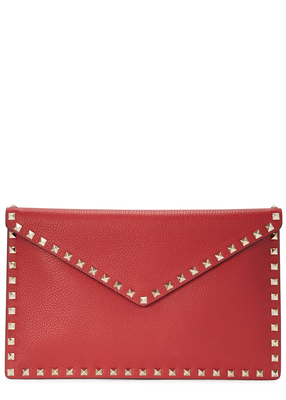 Rockstud Red Leather Pouch in 0Ro Red