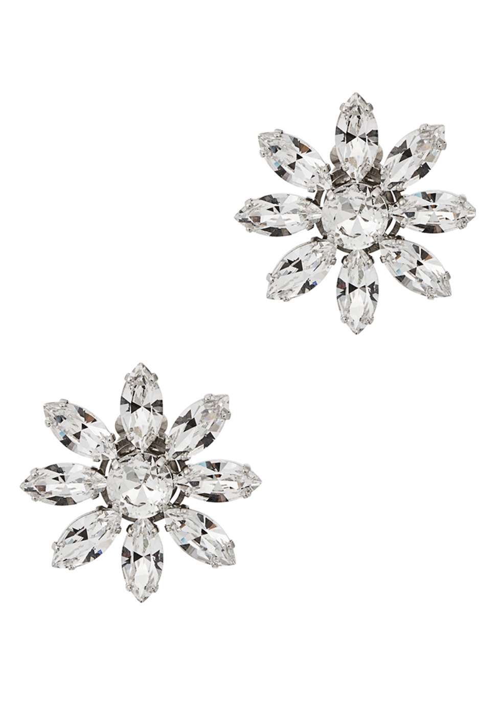 CA&LOU Lea Crystal-Embellished Clip-On Earrings in Silver