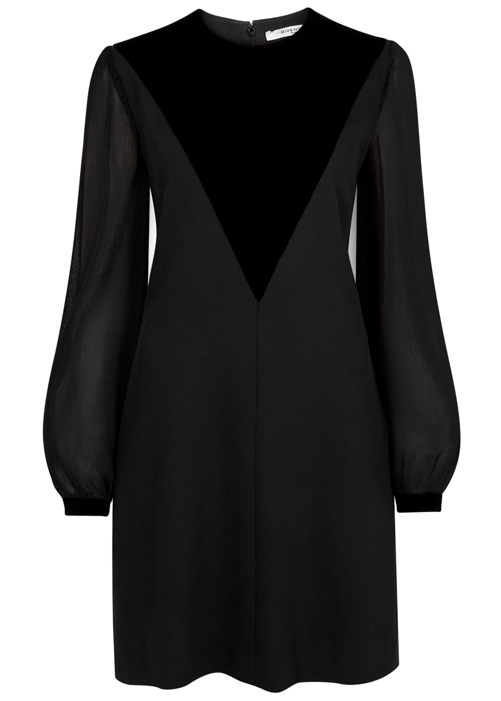 GIVENCHY BLACK VELVET-PANELLED WOOL DRESS