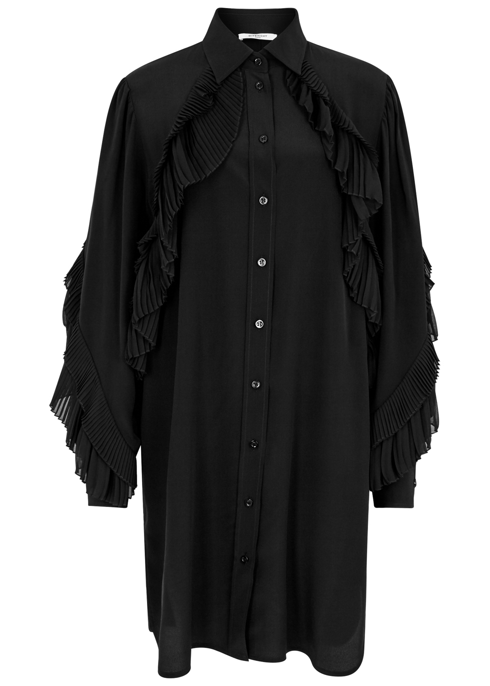 GIVENCHY BLACK RUFFLE-TRIMMED SILK DRESS