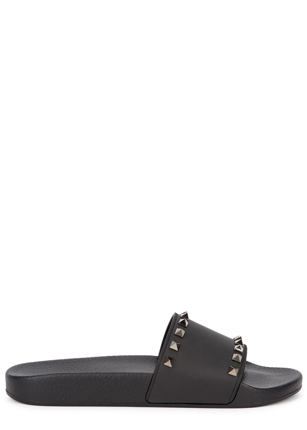 Valentino Garavani Rockstud black rubber sliders