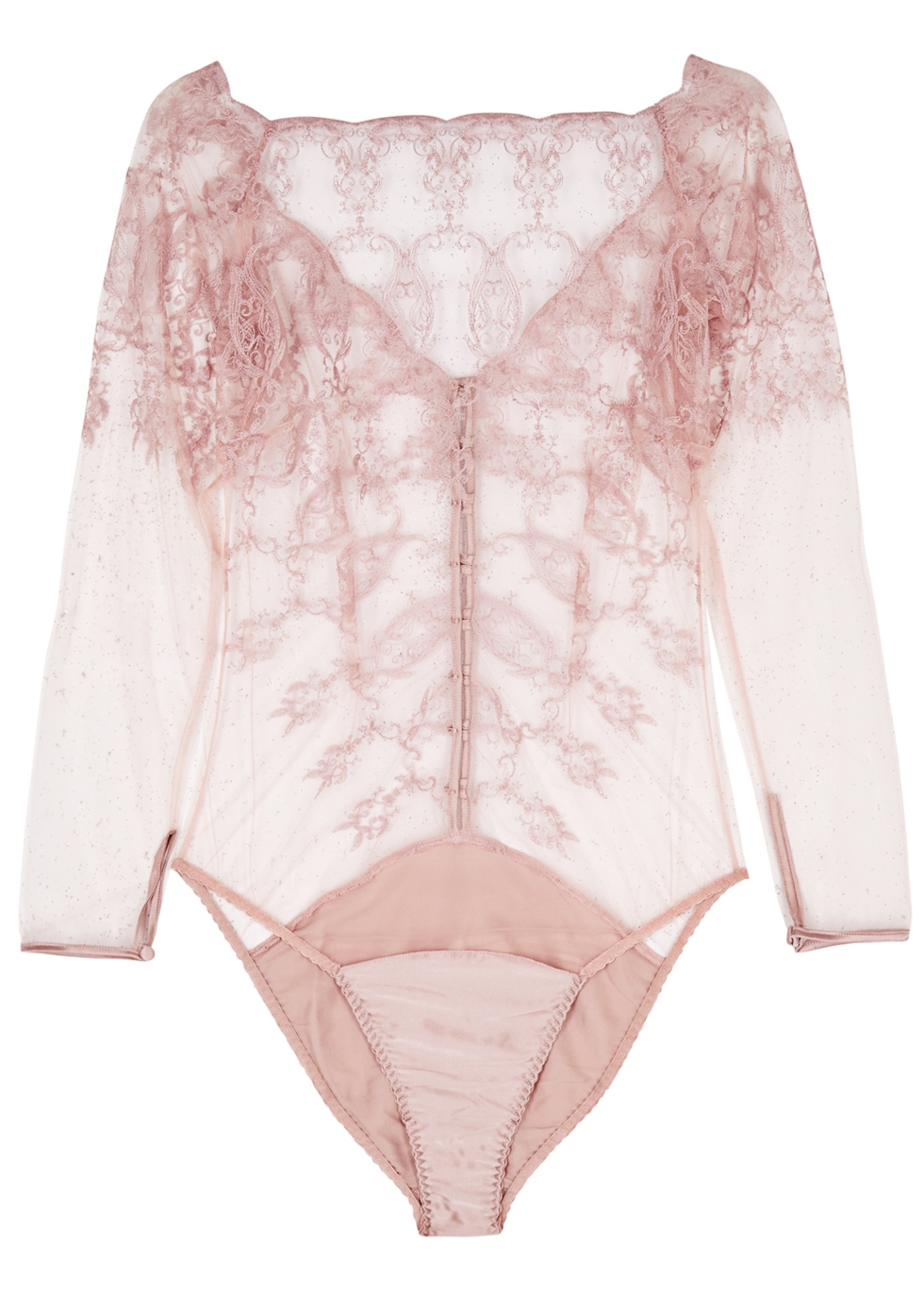 FLEUR OF ENGLAND ANTOINETTE BLUSH EMBROIDERED TULLE BODY