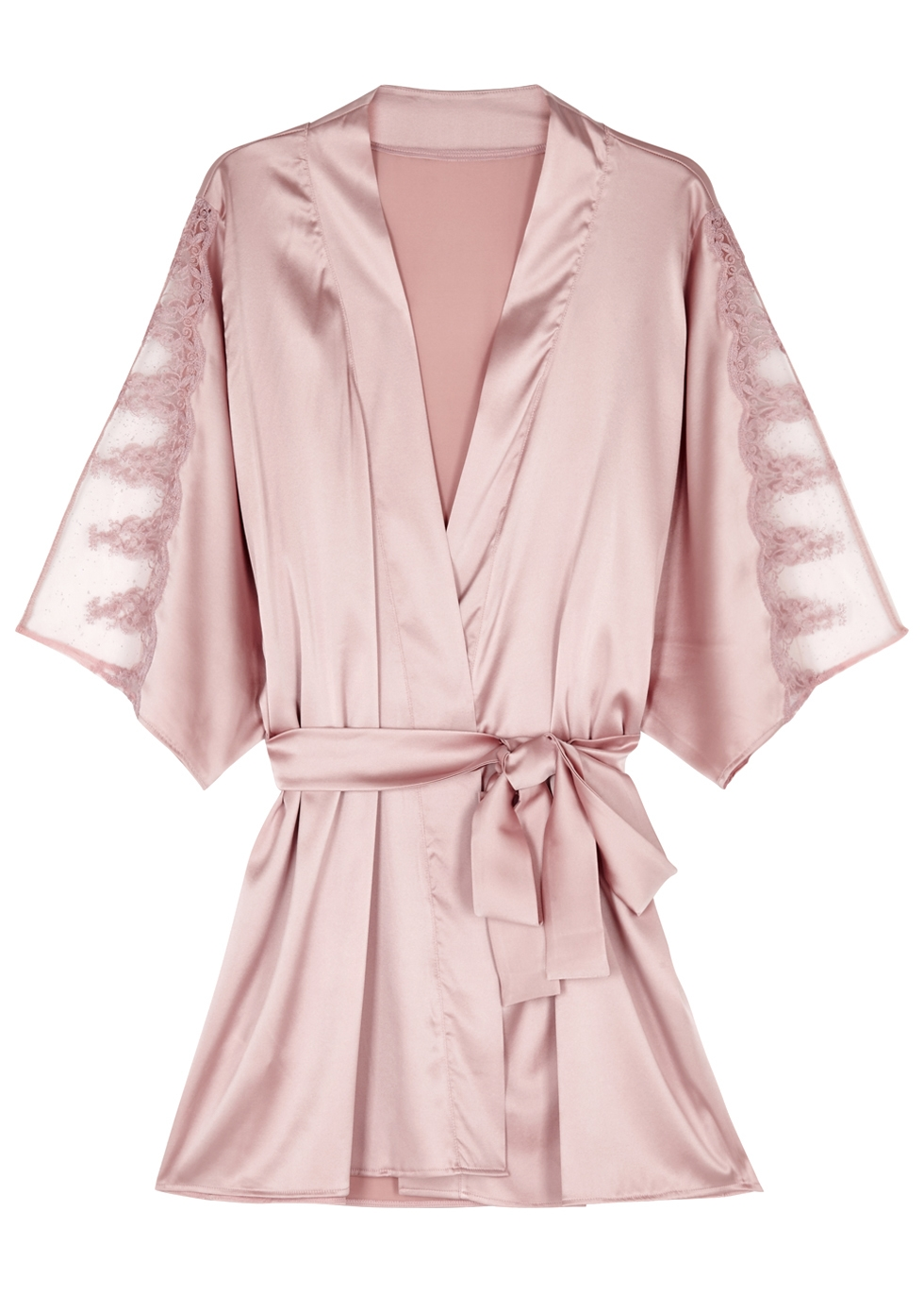 FLEUR OF ENGLAND ANTOINETTE BLUSH SILK-BLEND ROBE