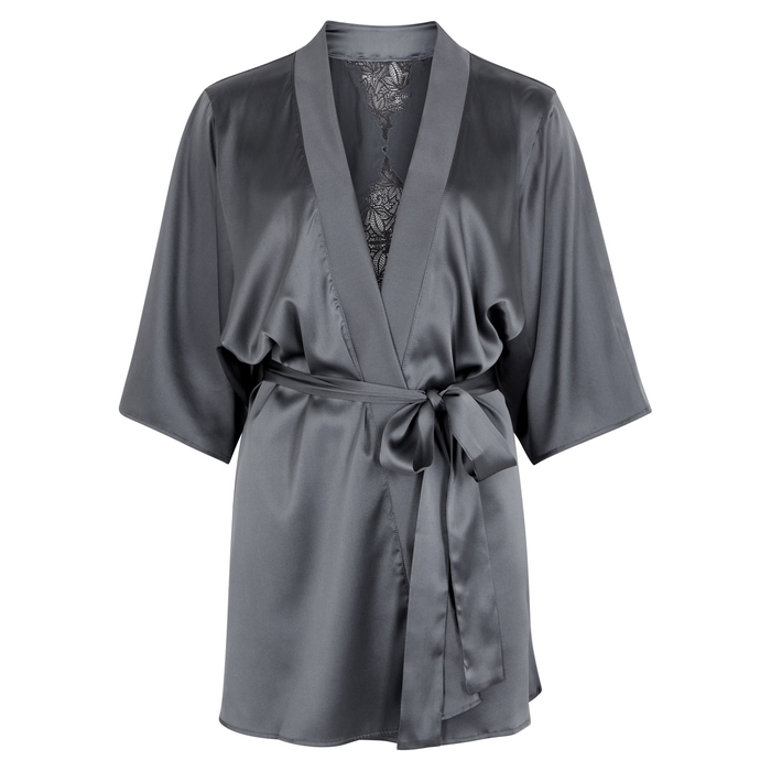 Fleur Of England Wilderness Grey Silk-Blend Robe In Dark Grey ... 9700ece10