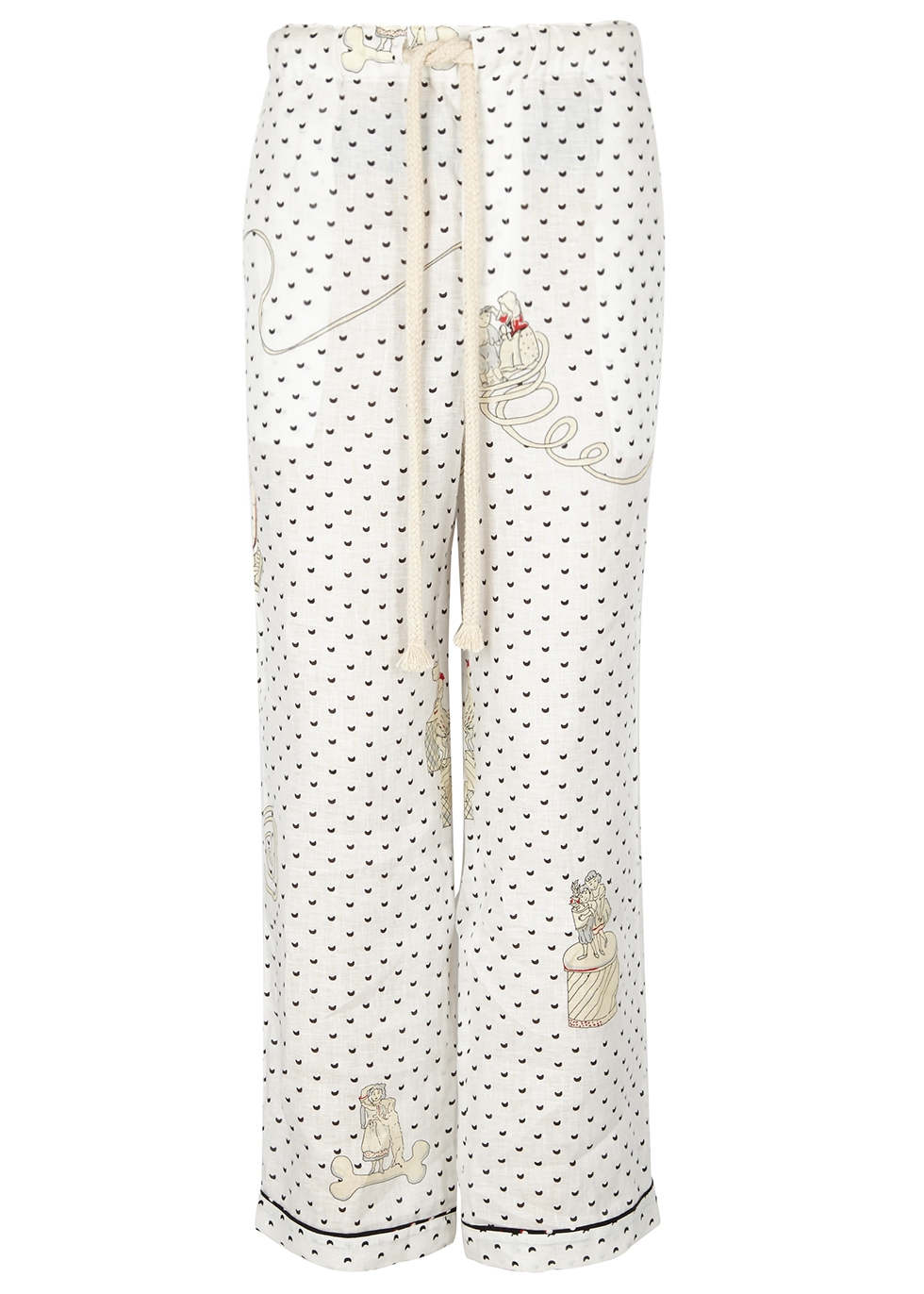 Loewe x paulas ibiza printed linen trousers black and white