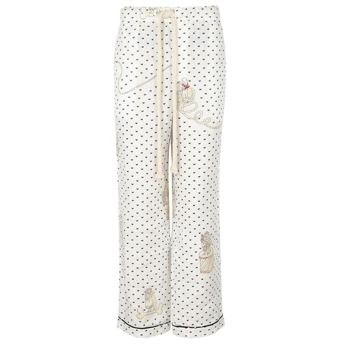 Loewe x paulas ibiza printed linen trousers black and white