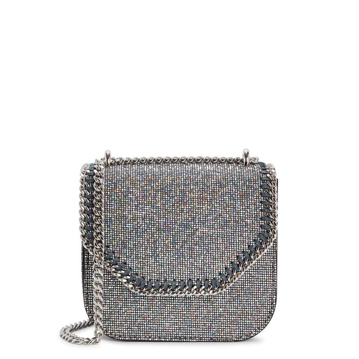 8519e2bee0c Stella Mccartney Falabella Box Glittered Shoulder Bag In Silver ...