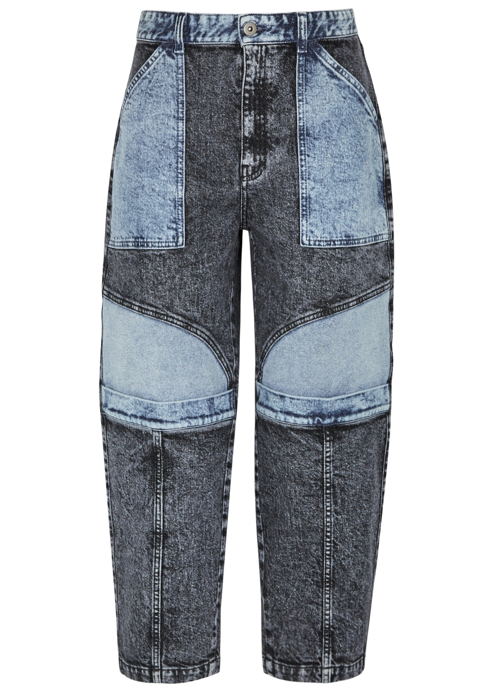 FADED PATCHWORK STRAIGHT-LEG JEANS