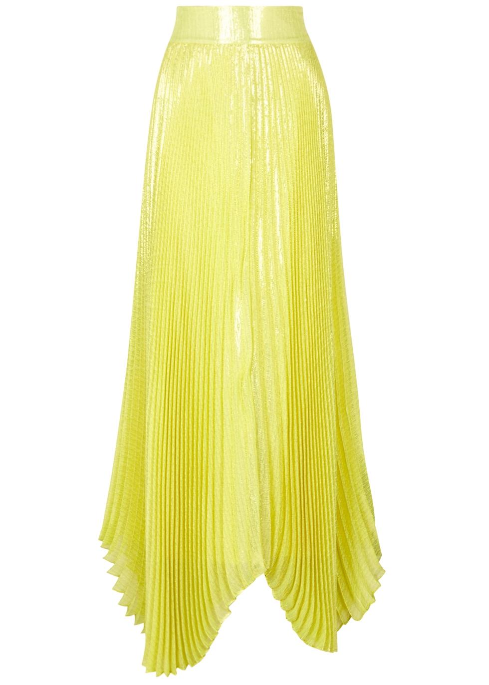 Katz Pleated Lamé Maxi Skirt, Yellow