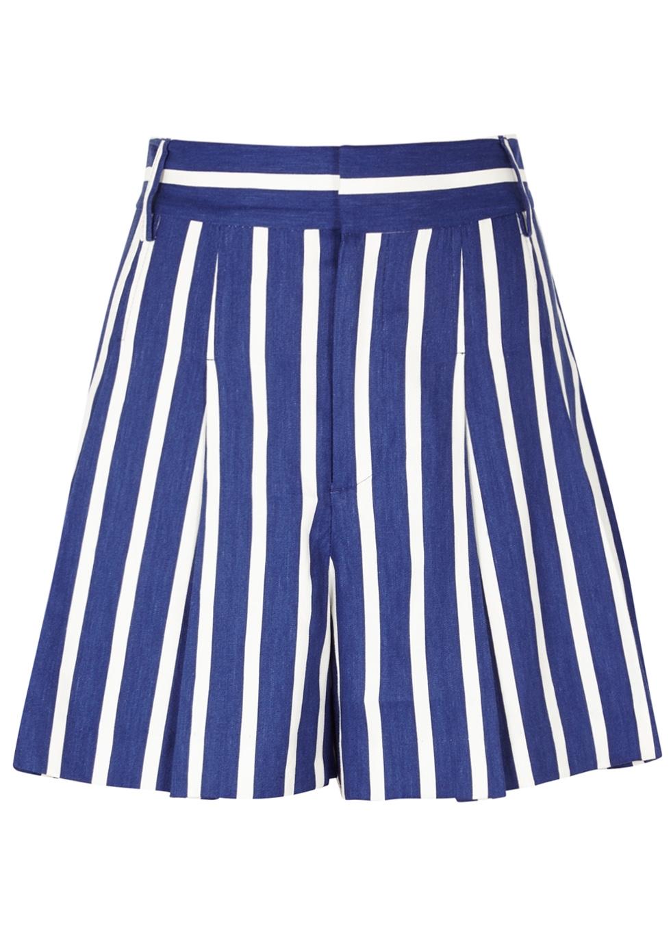 Alice+Olivia Striped Culotte Shorts - Blue