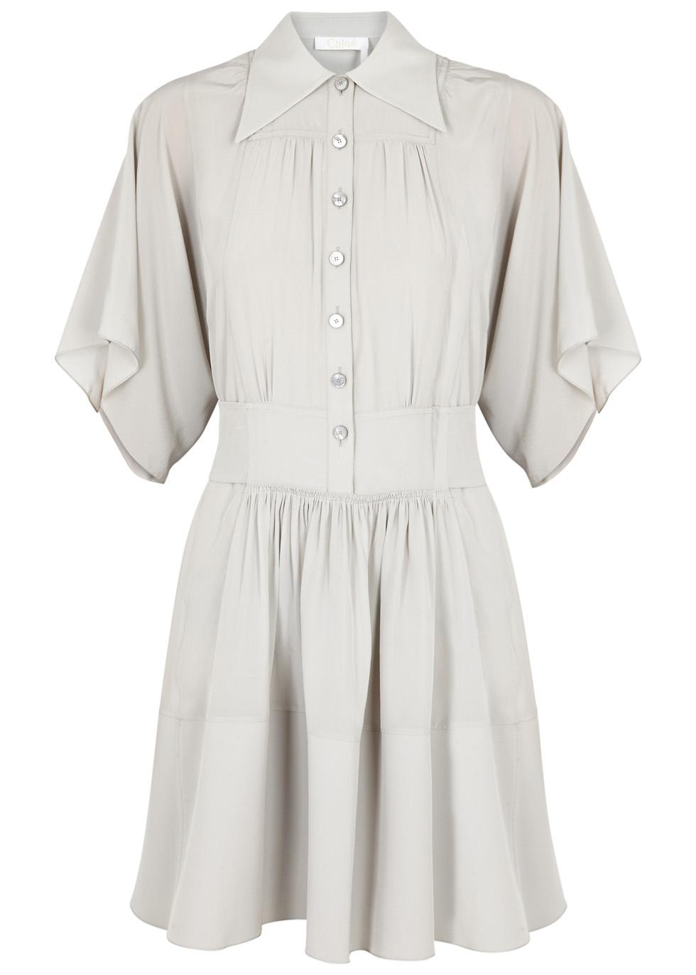 PALE GREY SILK DRESS