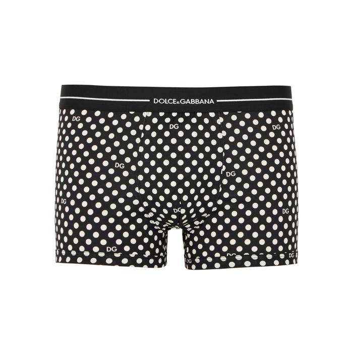 Dolce & Gabbana Black Polka-dot Cotton Boxer Briefs thumbnail
