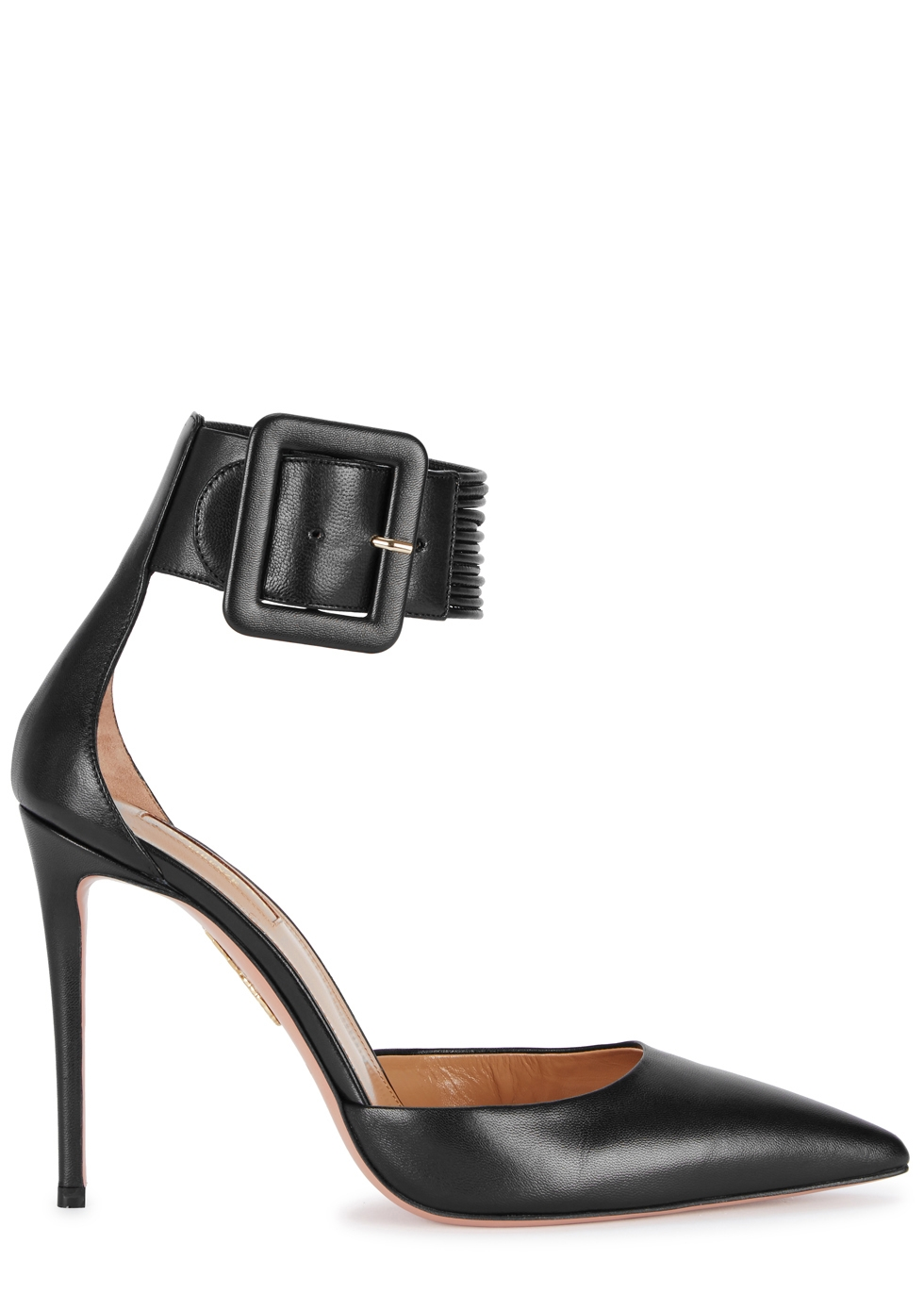 AQUAZZURA CASABLANCA BLACK LEATHER PUMPS