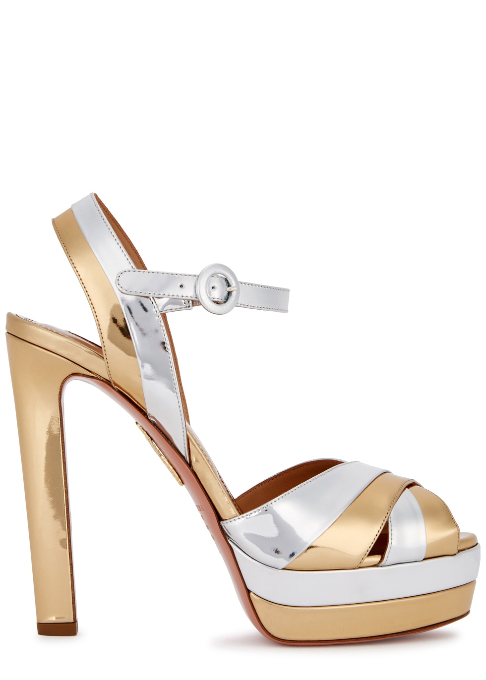 AQUAZZURA COQUETTE PATENT LEATHER PLATFORM SANDALS