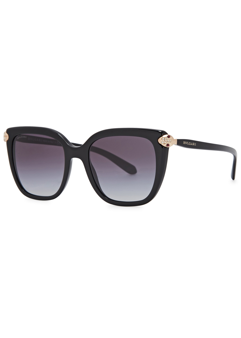 BVLGARI BLACK OVAL-FRAME SUNGLASSES