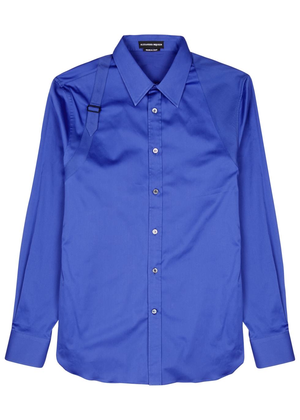 ALEXANDER MCQUEEN BLUE HARNESS COTTON-BLEND SHIRT