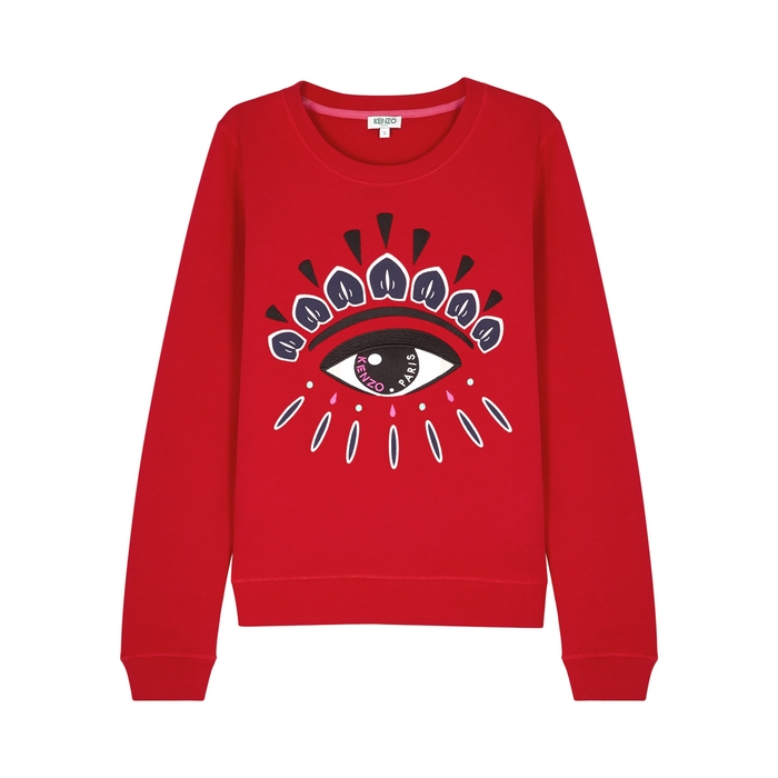 3a198328b6 Red Eye-Embroidered Cotton Sweatshirt