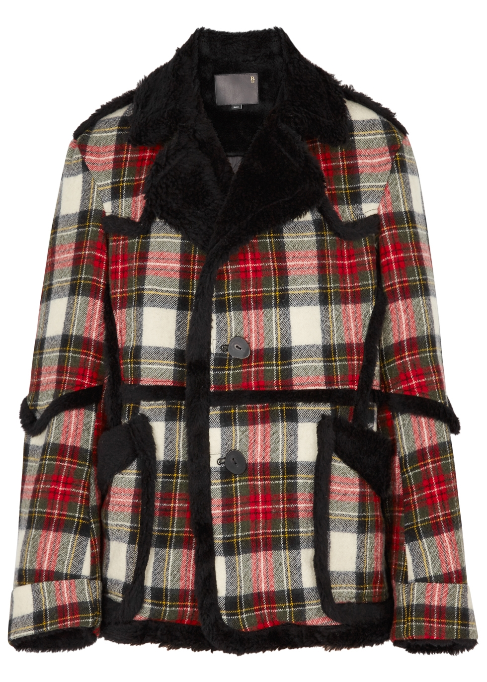 Oversized Check Shearling Wool Coat, Red