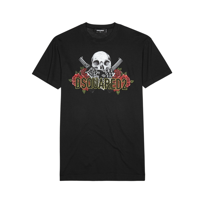 DSQUARED2 Black Printed Cotton T-shirt
