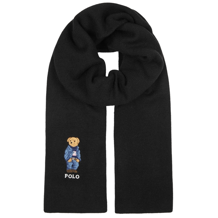 Polo Ralph Lauren Black Embroidered Knitted Scarf