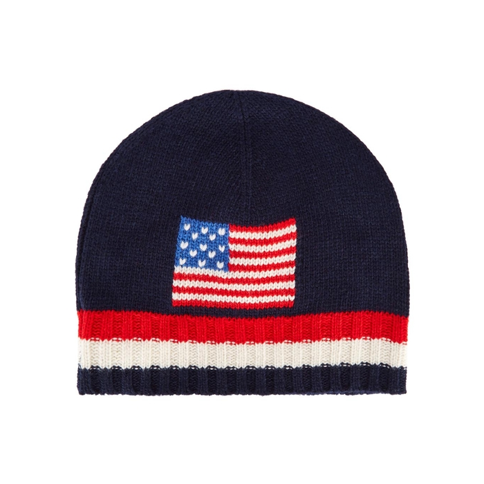 Polo Ralph Lauren Navy Flag-intarsia Beanie