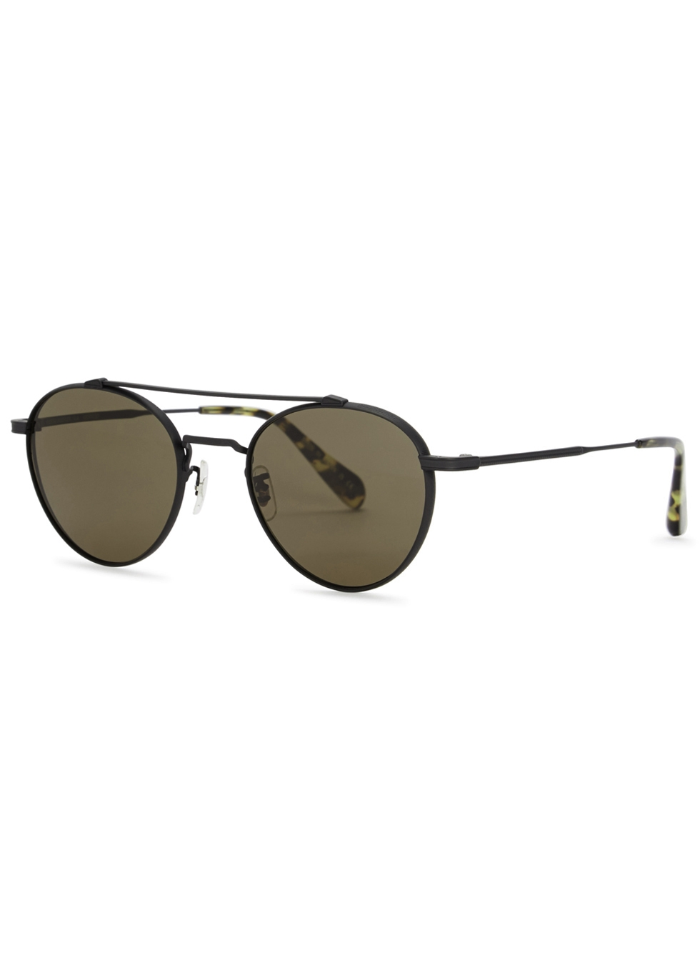 OLIVER PEOPLES MATTE BLACK ROUND-FRAME SUNGLASSES