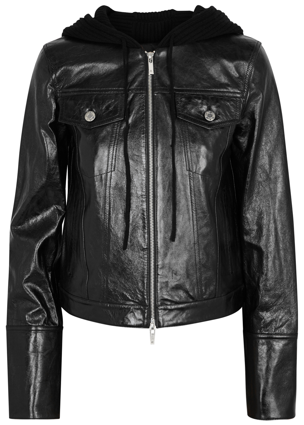 Hooded Glossed Textured-Leather And Ribbed Wool-Blend Jacket, Black