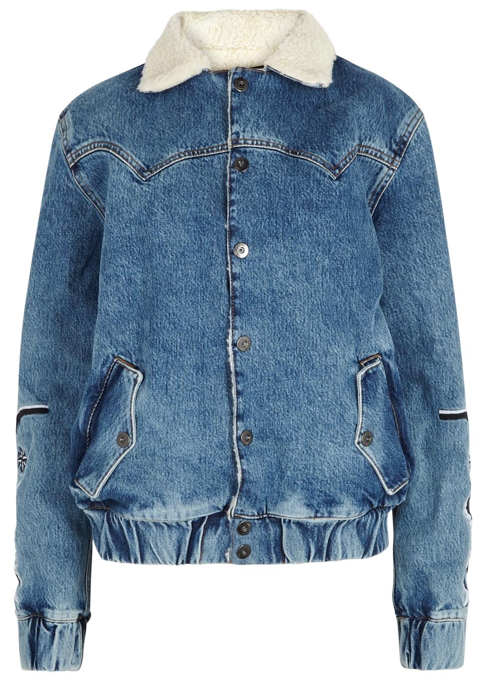 FILLES À PAPA Filles A Papa Janis Faux Shearling Collar Denim Jacket - Blue