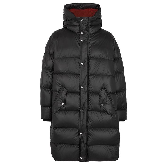 Valentino Black VLTN-print Quilted Shell Coat