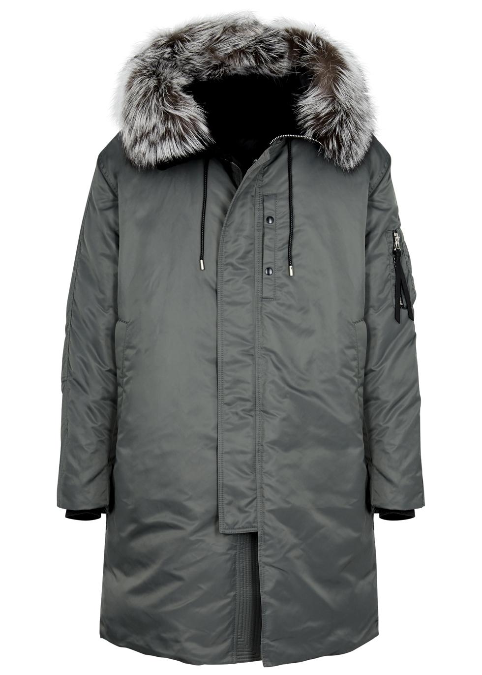 SOLID HOMME DARK GREY FUR-TRIMMED SHELL COAT