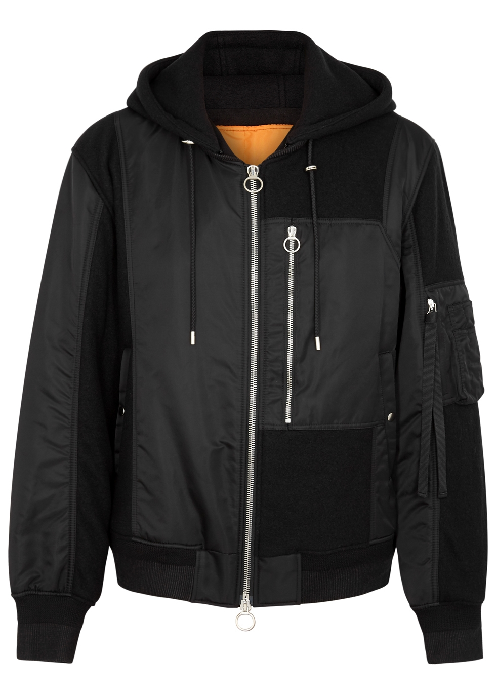 SOLID HOMME BLACK SHELL AND WOOL BOMBER JACKET